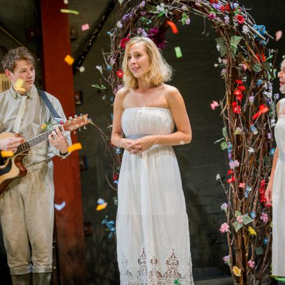 As You Like It - William Shakespeare - Southwark Playhouse - 18 September 2014Director - Derek BondDesigner - Emma BaileyLighting Designer - Sally FergusonAdam/Corin - Richard AlbrechtDurke Frederick/Duke Senior/Oliver Martext - Steven CrossleyCel